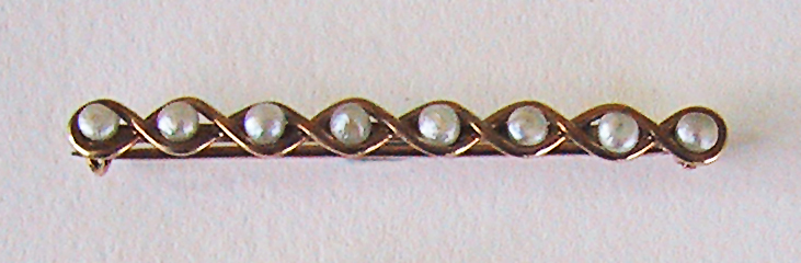 Victorian BAROQUE PEARL Brooch  - 14K Gold  (Antique Pearl Bar Pin)