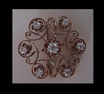 Signed Antique SUNBURST DIAMOND Brooch / Pendant - c1890