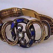 c1850, Signed ANTIQUE BRACELET - Rose Diamonds, Enamel, 18K