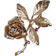Retro 14K ROSE FLOWER Brooch - Two Rubies & Diamond, c1945