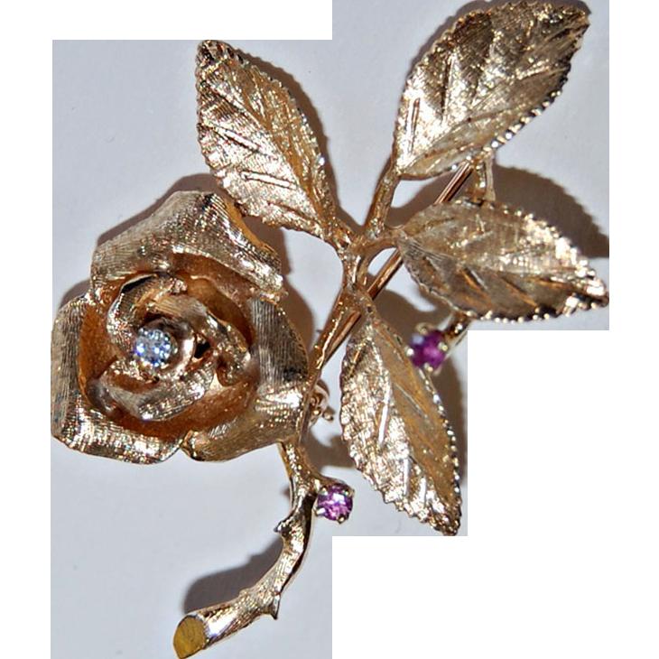Retro 14K ROSE FLOWER Brooch - Two Rubies & Diamond, c1945