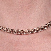 c1940, Vintage 14K GOLD CHOKER - Woven, Heavy Weight