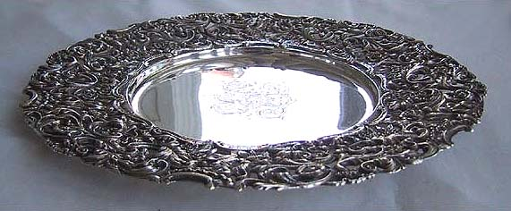 Antique STERLING TRAY Ornate JE Caldwell Sterling