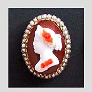 Antique STONE CAMEO (Three Color Cameo), Victorian, c1875