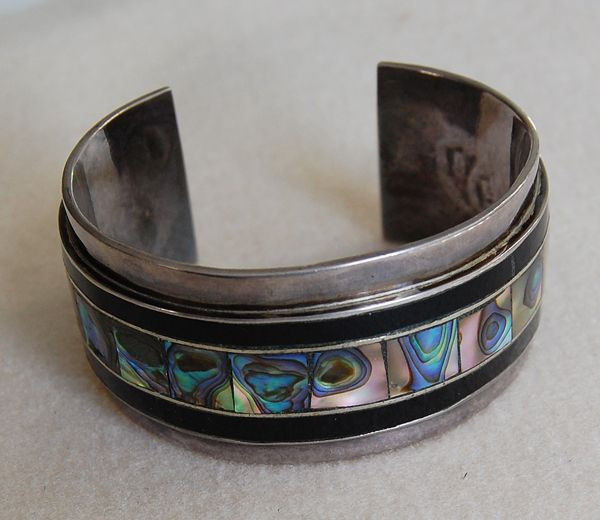 c1940, MEXICAN STERLING - Cuff Bracelet (Sterling, Abalone, Onyx)