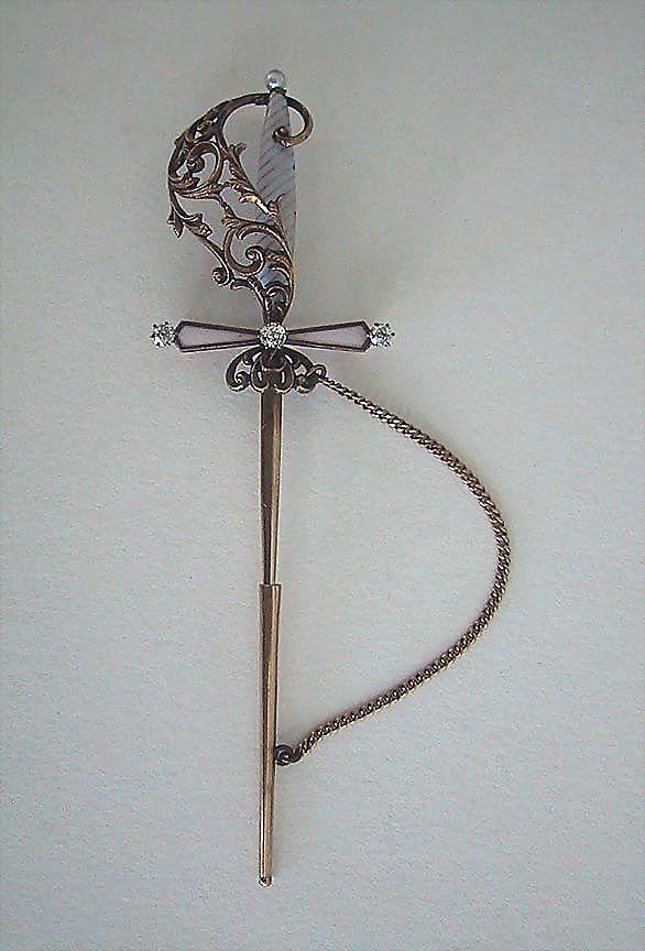 Antique SWORD BROOCH - Enamel, Diamonds, Pearl, 14K Gold