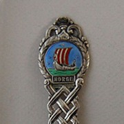 Vintage SCANDINAVIAN SPOON - Viking Ship (Sterling & Enamel)