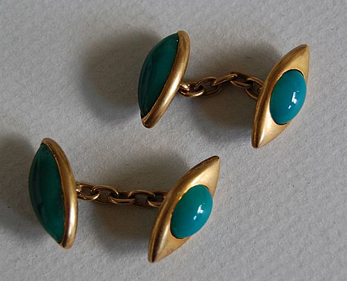 Fine Antique CUFFLINKS / Green ONYX - 14K Gold, English