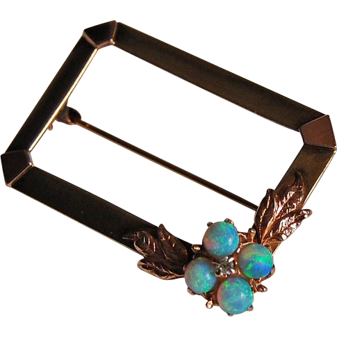 c1945 - Retro 14K GOLD & OPAL BROOCH - Fire Opals & Diamond  (Rectangular)
