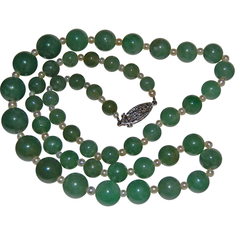 Fine Vintage JADE & PEARL NECKLACE - Diamond & Gold Clasp