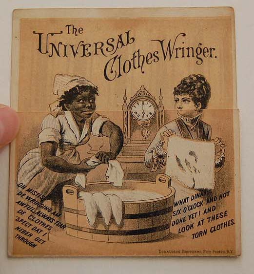 Black Americana ADVERTISING CARD - The Universal Clothes Ringer (fold out)