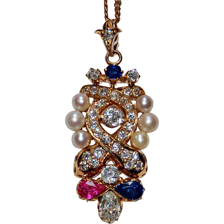 ANTIQUE JEWELED PENDANT - Ruby, Pearls, Sapphires, 14K Gold - c1890