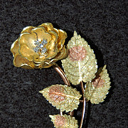 18K Gold FLOWER BROOCH - Rose with Thorns / Diamonds / Vintage / Fine
