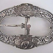Antique Dutch SOLID SILVER BUCKLE - large, ornate, c1890