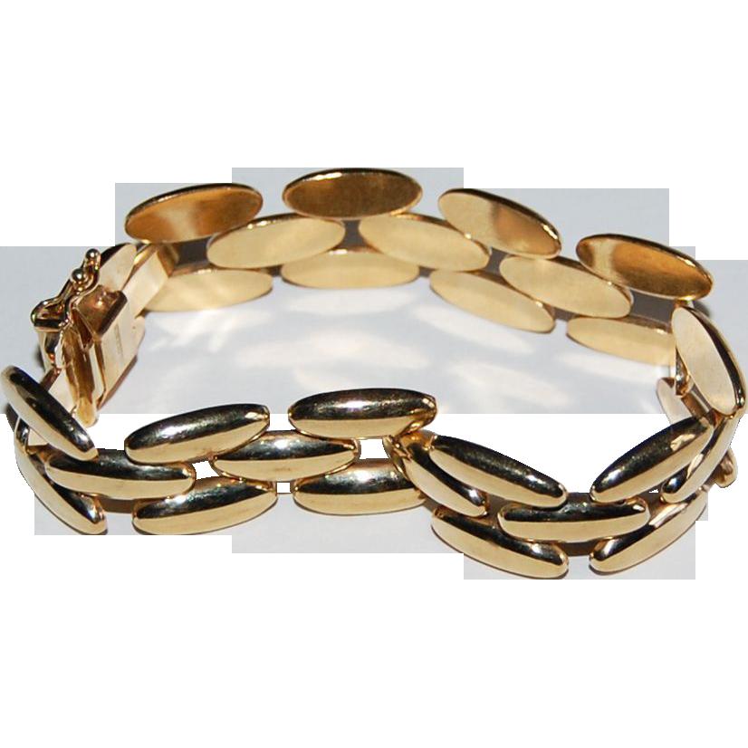 Wide 14K GOLD BRACELET - Vintage large Link Bracelet - Hallmarked