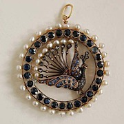 Antique Jeweled HUNGARIAN PENDANT- Peacock, 19th Century
