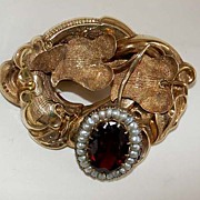 Fine Antique GARNET BROOCH - Large Botanical - 14K Gold, Pearls