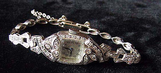 c1920 - Art Deco Wristwatch - PLATINUM, GOLD & DIAMOND - Ladies, Hamilton