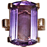 c1920, Large AMETHYST RING, 14K Gold - Registry number, FINE