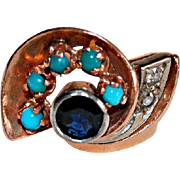 Vintage RETRO 14K GOLD RING - Turquoise, Sapphire, Diamond Ring, SWIRL