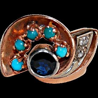 Vintage RETRO 14K GOLD RING - Turquoise, Sapphire, Diamond Ring, SWIRL