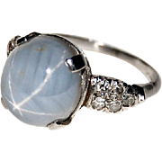Vintage STAR SAPPHIRE RING - Diamond Accents - Platinum - circa 1920's