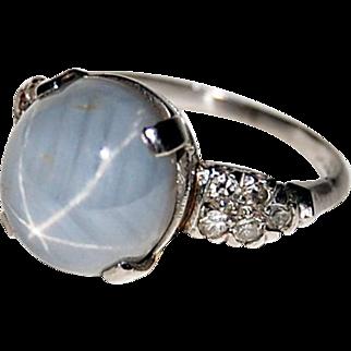 Vintage STAR SAPPHIRE RING - Diamond Accents - Platinum - circa 1920's