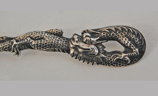 China Trade DRAGON SPOON - Solid Silver, c1890 (WH maker)