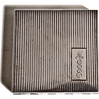 Vintage Art Deco STERLING COMPACT - c1920's / Square Ribbed Case / Mirror
