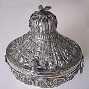 Vintage EGYPTIAN BOX - Sterling Silver, Ornate Flowers & Birds