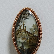 18th Century MEMORIAL BROOCH - Crystal / Painted Scene / Gold