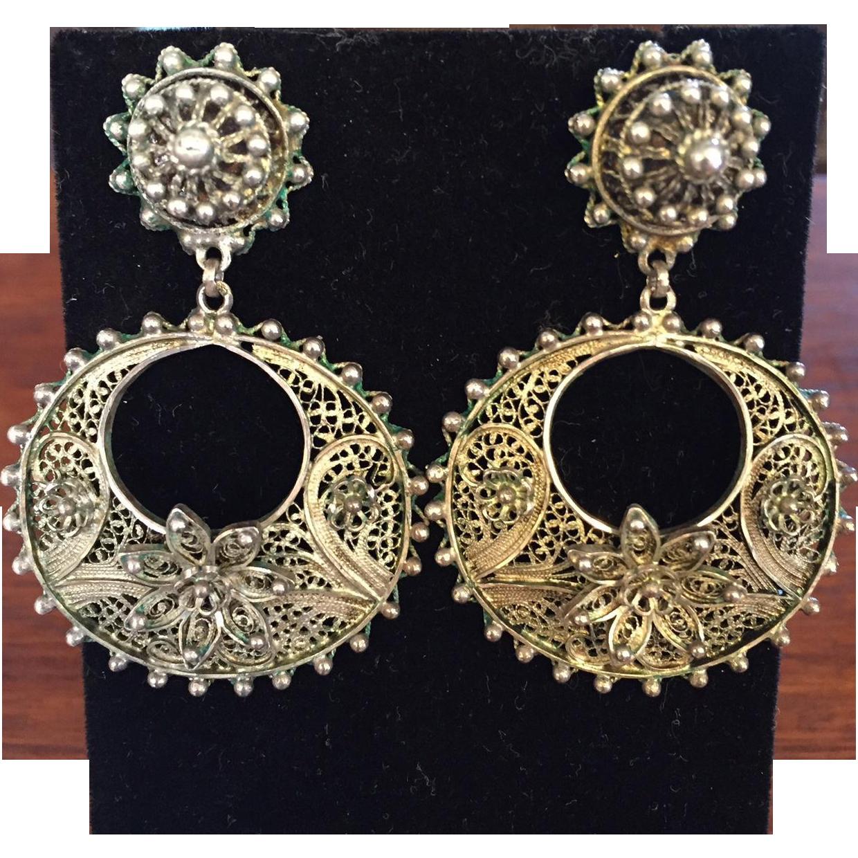 Pretty 800 Silver Filigree Hoop Dangle Earrings