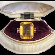 Gorgeous 14k Yellow Gold Art Deco Retro Lemon Citrine & Ruby Ring