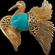 1960's Italian 18k Yellow Gold & Persian Turquoise Bird Brooch