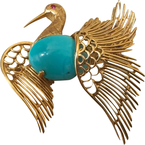 1960's Italian 18k Yellow Gold & Persian Turquoise Bird Brooch