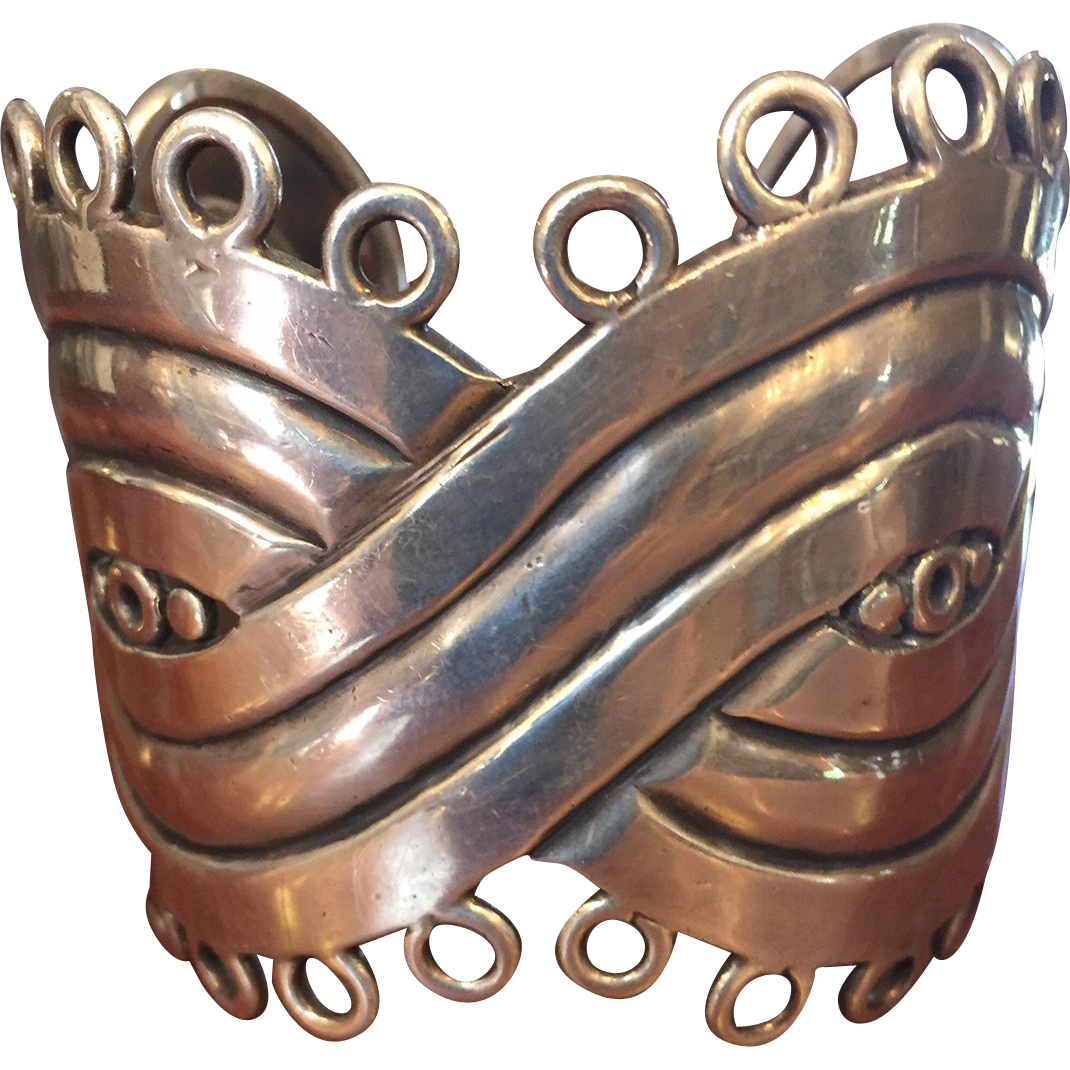 Rare William Spratling Heavy Mexican Sterling MASK Cuff