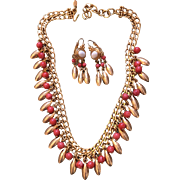 Gorgeous MONET Faux Coral Gold Plated Fringe Necklace & Earring Set