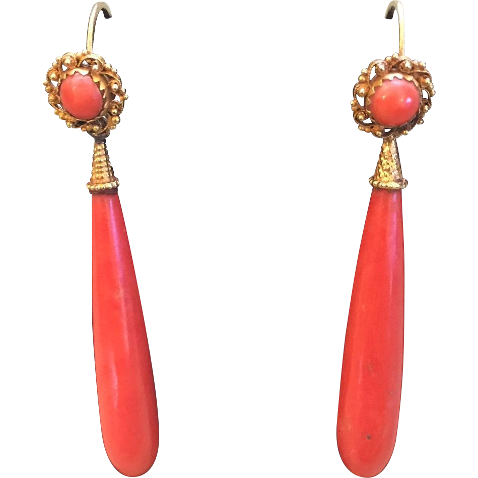 Victorian 18K Mediterranean Red Coral Day/ Night Pendant Earrings