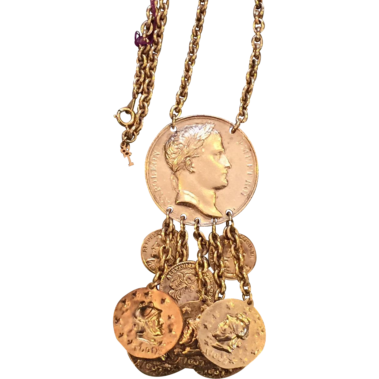 Trifari Dangling Coins Gold Plated Pendant Necklace