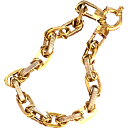 18K Italian Two Tone Yellow & White Gold Link Bracelet