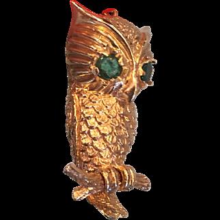14K Yellow Gold Cast Owl Pendant Emerald Eyes