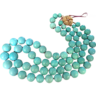 RARE Double Strand Huge Bead Persian Turquoise Necklace 14K Gold Clasp
