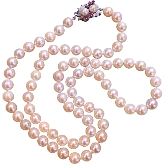"1960's 24"" Strand of Cultured Pearls 18k White Gold & Ruby Clasp Necklace"