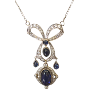 Edwardian Belle Epoque Diamond Sapphire Pendant Necklace