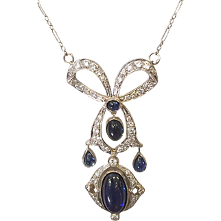 Edwardian Belle Epoque Diamond Sapphire Pendant Necklace