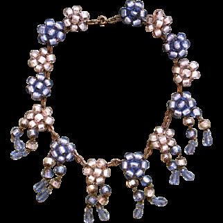 1930's Murano Blue & White Foil Bead Festoon Necklace