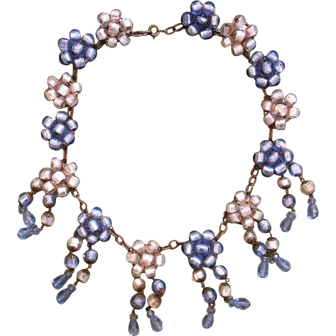 1930's Murano Blue & White Foil Bead Festoon Necklace