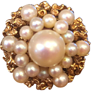 Glamorous 1960's 14k Yellow Gold & Pearl Cocktail Ring