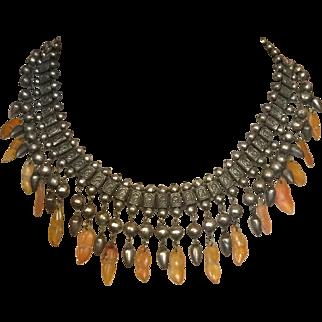 Stunning Early Chinese Bookchain Necklace Orange Jade Jadeite Drops