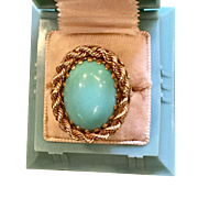 Huge 14k Persian Turquoise Cocktail Ring